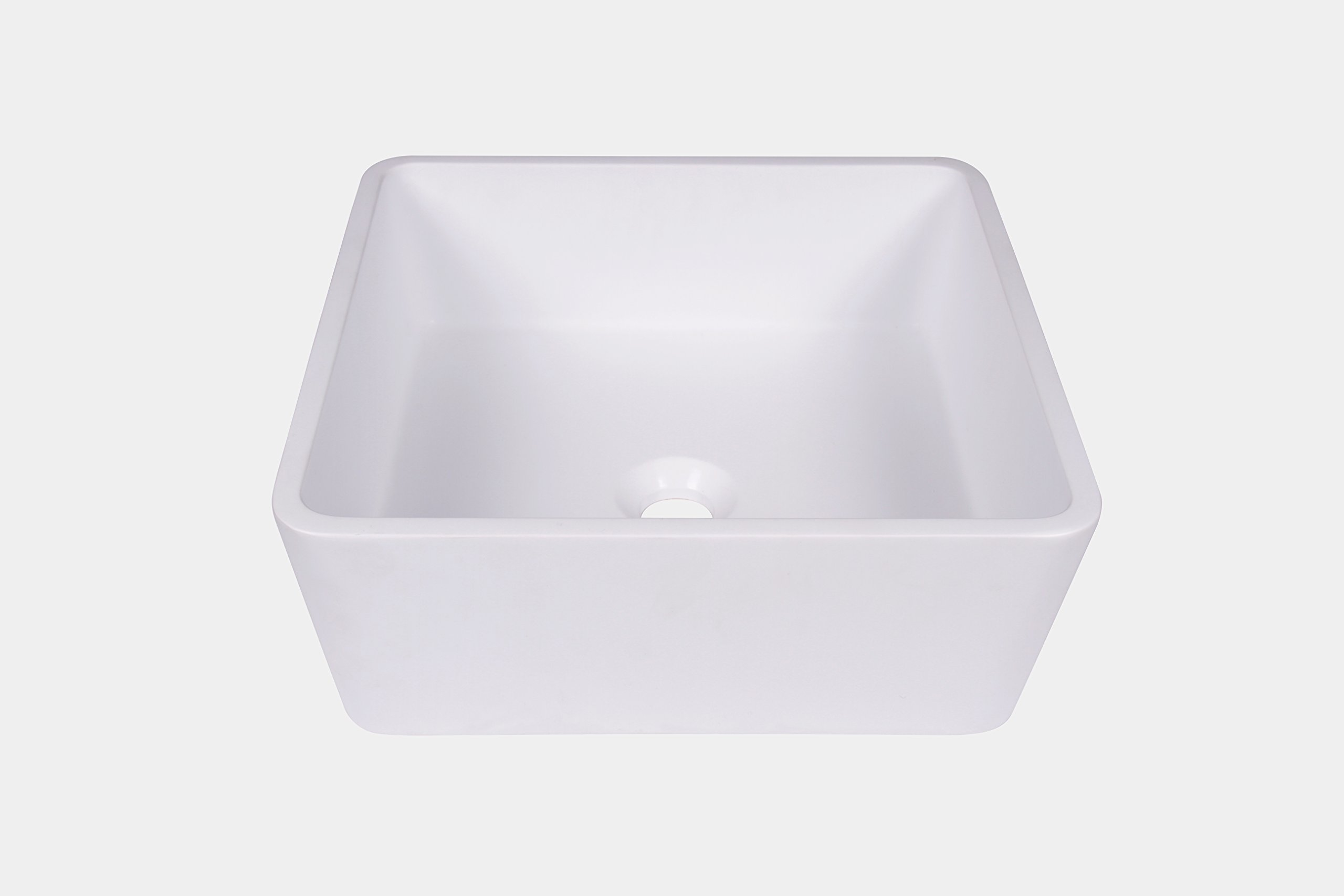 Jano Matte White Square Resin Vessel Bathroom Sink with Pop-up Drain