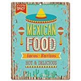 Mexican Food Chic Sign Rustic Retro Vintage Kitchen Bar Pub Wall Decor 9''x12'' Metal Plate Sign Home Store Decor Plaques