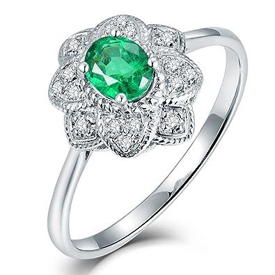 3e5d36d9aefb8 Lanmi Beauty Flower Design Women Rings 14kt White Gold Natural ...