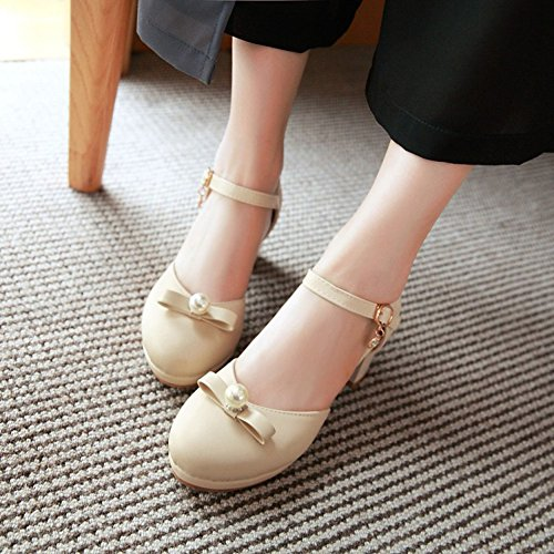 Sweet Pendant Womens Sandals Beads Bows Mid Strap Beige Buckle Ankle Easemax Chunky Heel 65Oqq