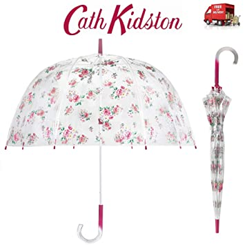 Fulton Birdcage Ladies Clear Walking Length Dome Shaped Umbrella Various Prints