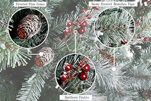 ABUSA Prelit Frosted Artificial Christmas Tree 7.5 Ft