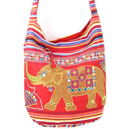 Caravan Bordado elefante lona cabestrillo bolso bandolera Red