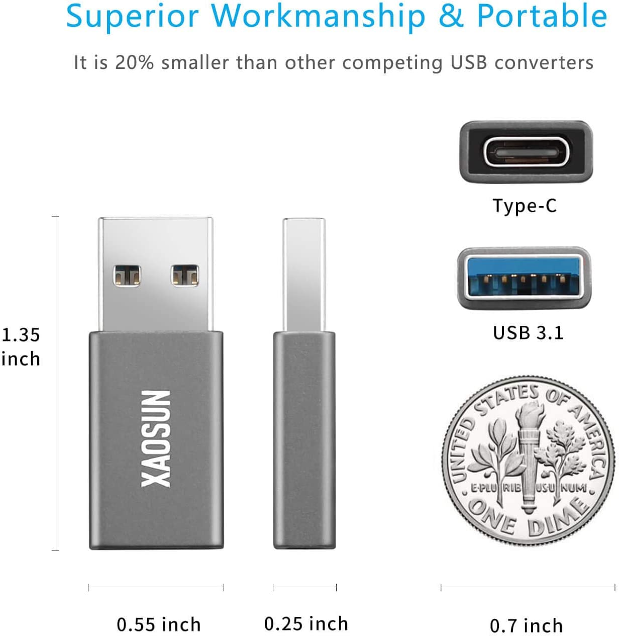 Thumbnail of USB C Female to USB Male Adapter [2 Pack] XAOSUN 3.0 3.1 USB A to C Adapter3$