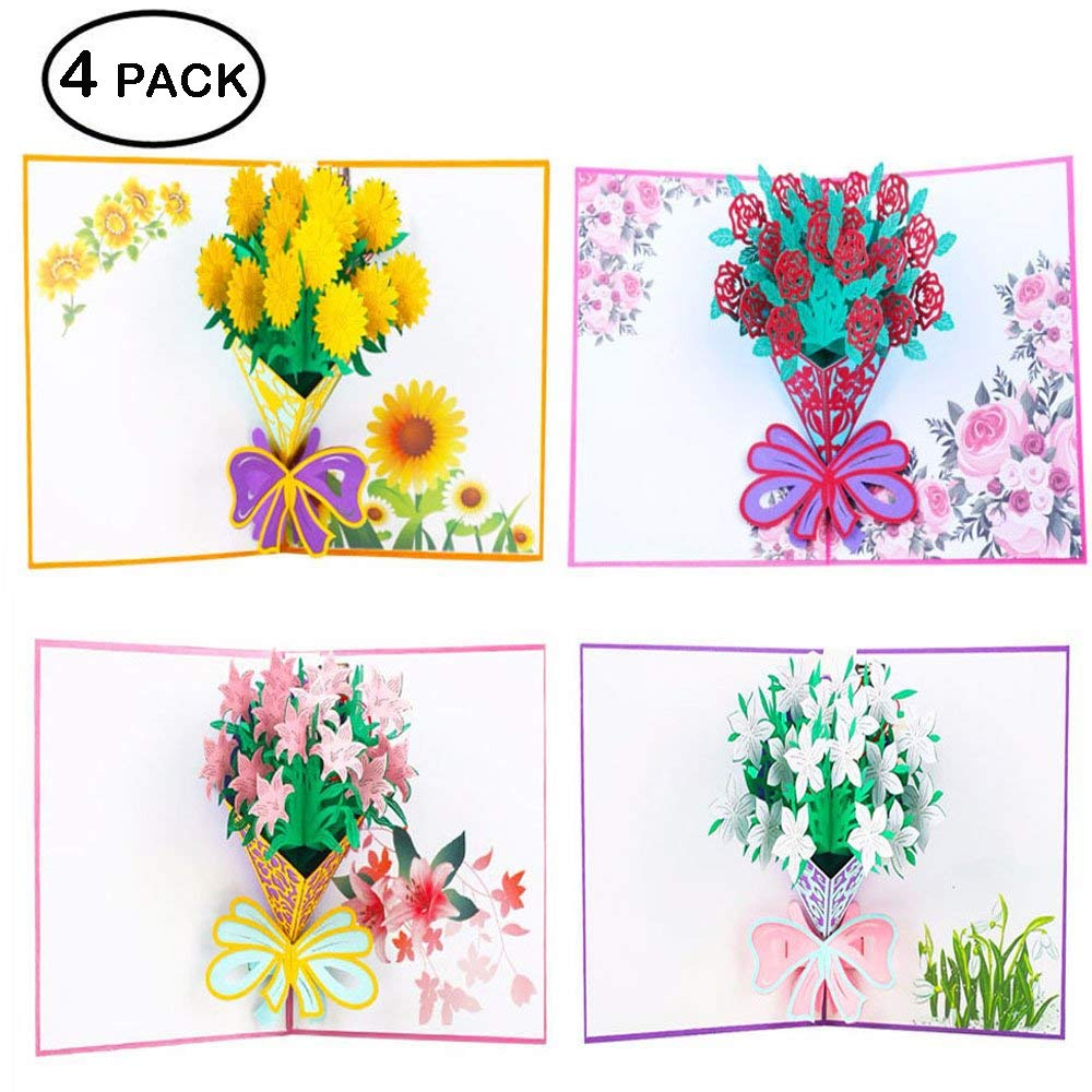 Flower 3D Pop up Greeting Cards with Envelope Sticker - Guaduation Card Gift Handmade Lilie, Roses, Sunflowers, for Back to School Teacher Appreciation Gifts, Birthday, Wedding, Thank You, Anniversary