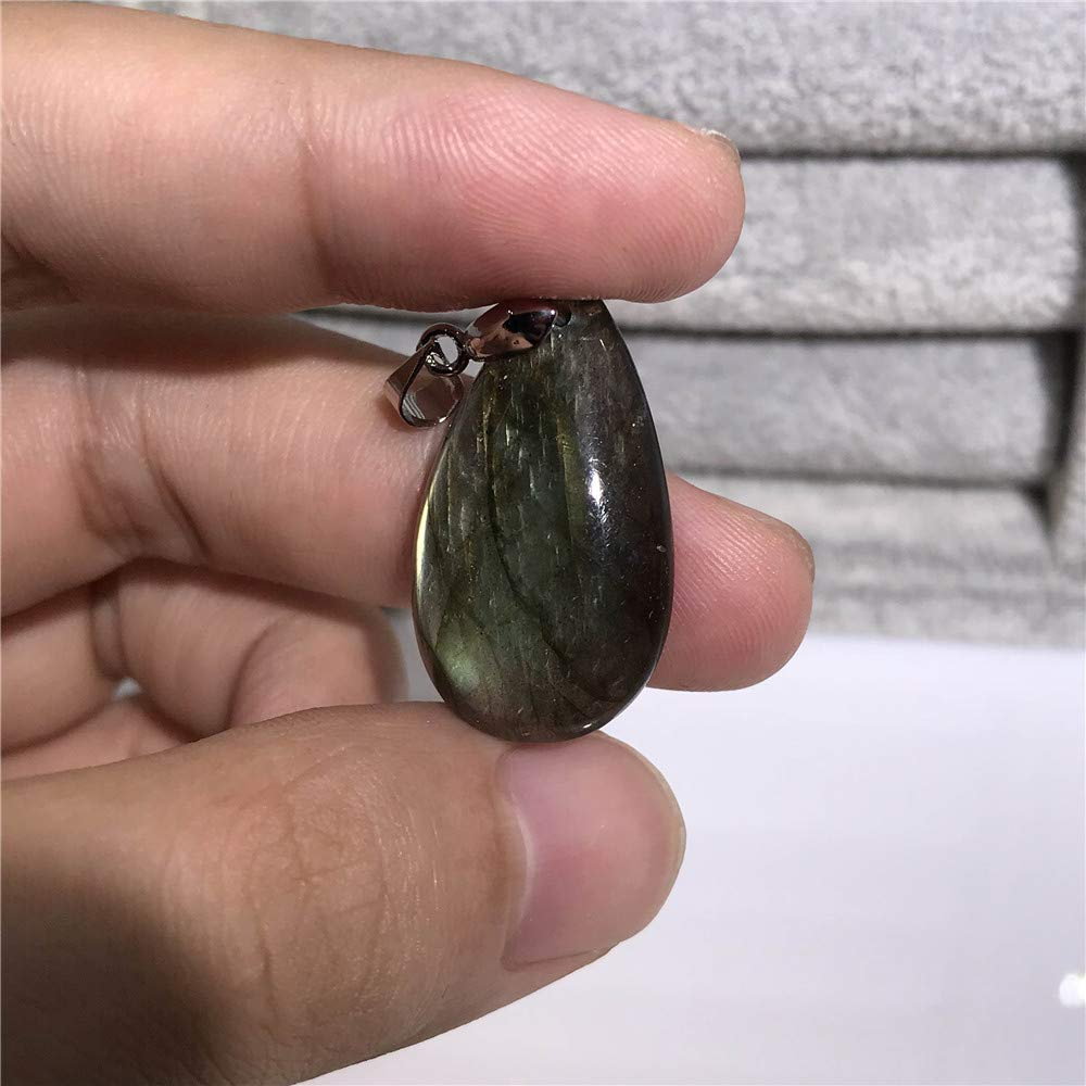 DUOVEKT Natural Labradorite Pendant for Women Men Water Drop Bead Strong Yellow Light 28x16x6mm Labradorite Moonstone Stone AAAA