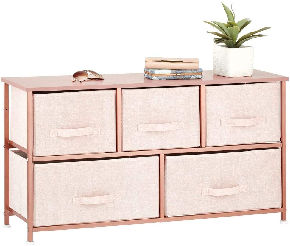 mDesign Extra Wide Dresser Storage Tower - Sturdy Steel Frame, Wood Top, Easy Pull Fabric Bins - Organizer Unit for Bedroom, Hallway, Entryway, Closets - Textured Print - 5 Drawers - Pink/Rose Gold