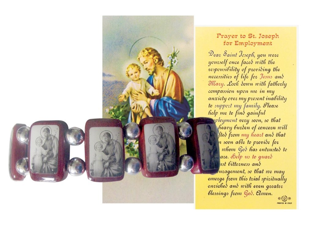 Saint Joseph Father of Jesus Wood Bracelet Monochrome Image Includes Blessed Prayer Card