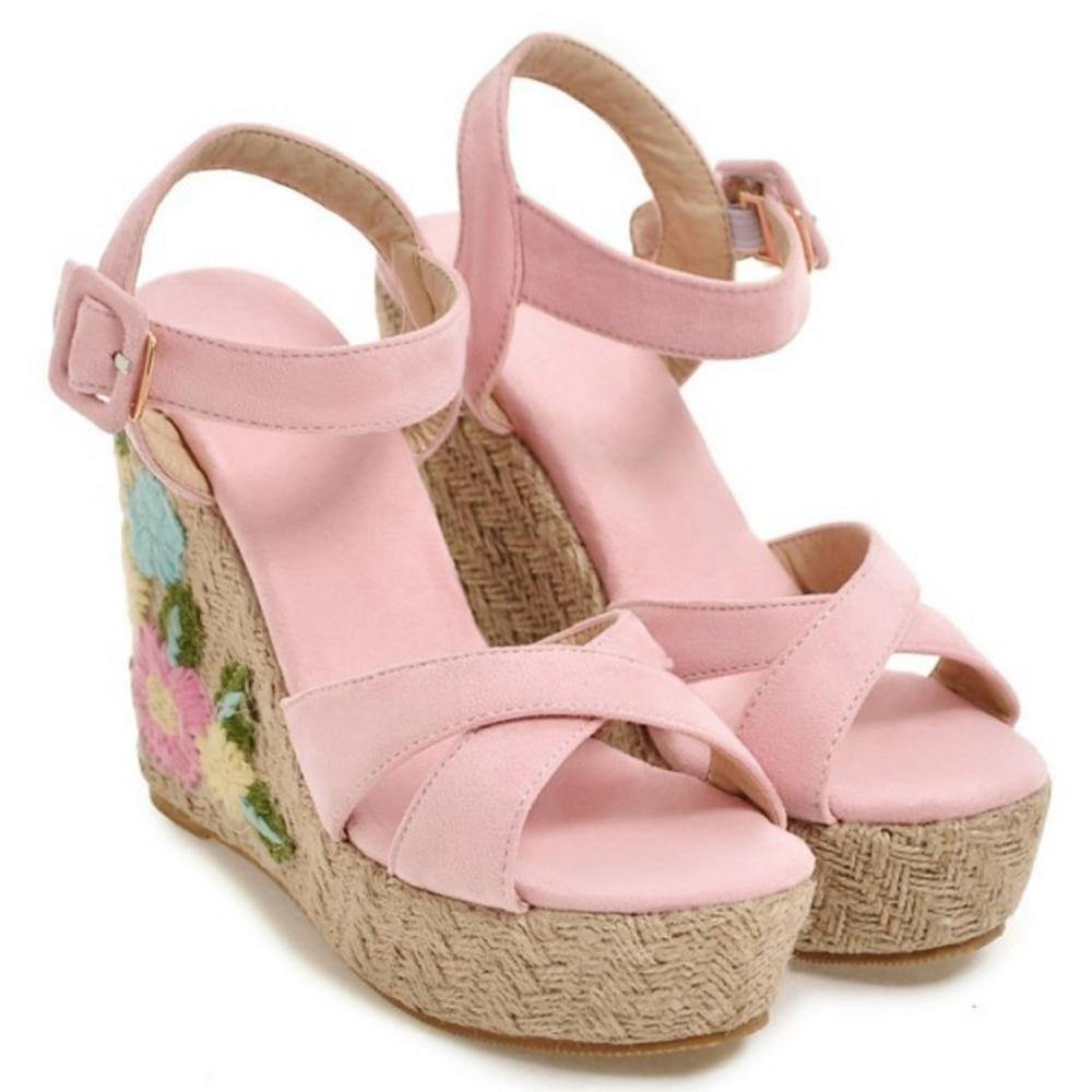 TAOFFEN Women Ankle Strap Wedge Heels Sandals B07BTXM9CN 6.5 US = 24 CM|Pink-3
