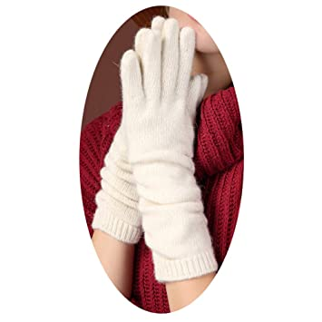 e130374cc MX Autumn and Winter Knit Gloves, Warm Gloves, Long Wool Gloves, Ladies  Gloves,white,One size: Amazon.co.uk: Sports & Outdoors