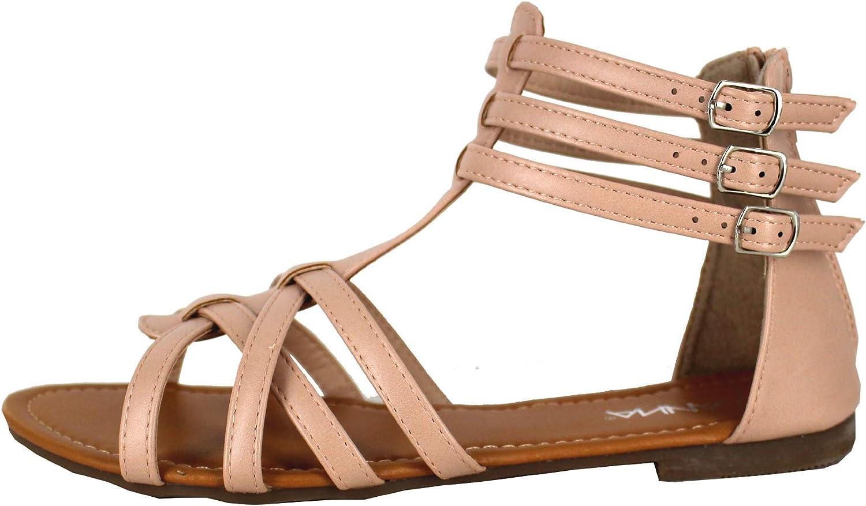 ANNA Home Collection Mavis-7 Women Buckle Zip Gladiator Sandal