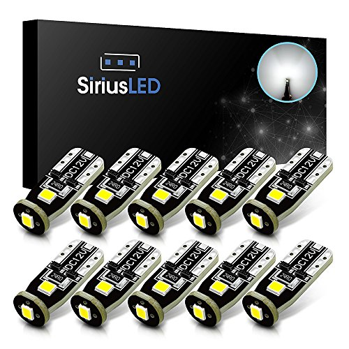 Car Dome Light Bulb - SiriusLED Extremely Bright 3030 Chipset LED Bulbs for Car Interior Dome Map Door Courtesy License Plate Lights Compact Wedge T10 168 194 2825 Xenon White Pack of 10