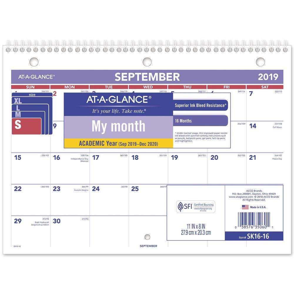 """AT-A-GLANCE 2019-2020 Academic Year Desk & Wall Calendar, 8"""" x 11"""", Small, Wirebound, Plan-A-Month (SK1616)"""