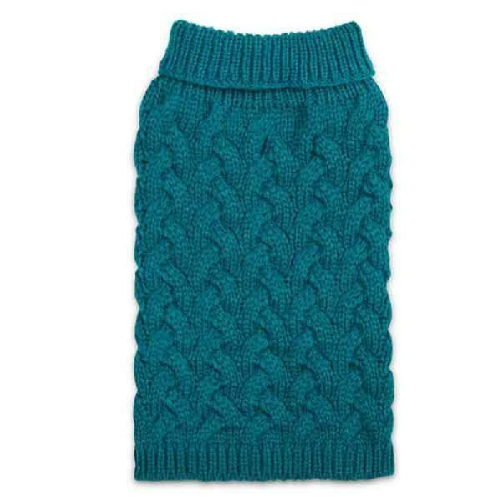 Elements Warm Chunky Cable Knit Pattern Sweaters For Dogs In Teal And Burgundy
