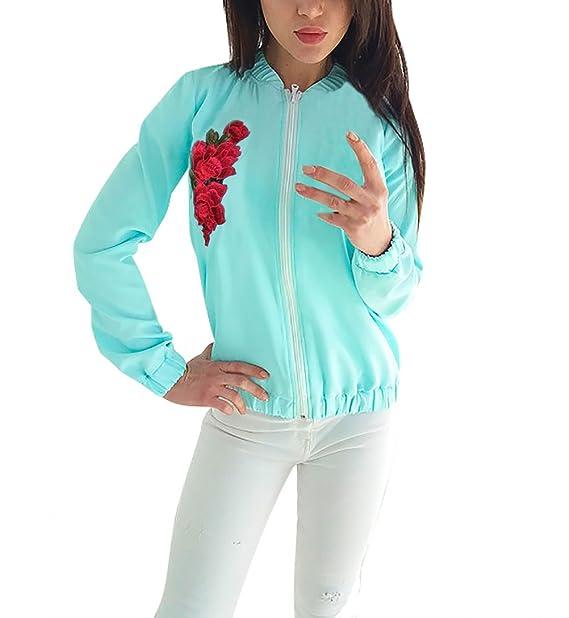 Mujer Chaquetas De Bomber Invierno Otoño Jacket Elegantes Estampadas Bordadas Flores Vintage Manga Larga Con Cremallera