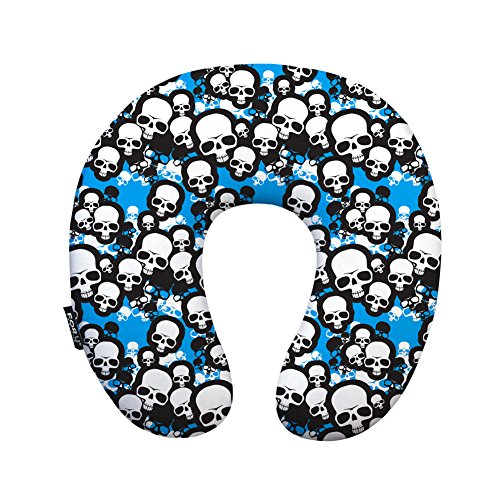 Youngerbaby Camouflage Skull Neck Pillow for Women Men Soft-Top U Shape Pillow Scientific Height Memory Foam Quality Travel Pillow Portable , Best for Plane Train , Blue , Birthday (Foam Skull)