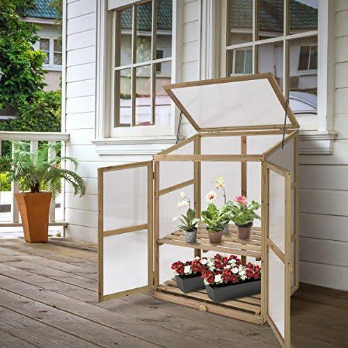 costway estante de invernadero de plantas Planta flores invernadero de madera/madera y policarbonato: Amazon.es: Jardín