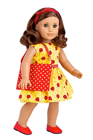 7163ba94b7058 Let's Go Shopping - Yellow Ladybug Dress with Shopping Bag, Red Shoes and  Matching Headband - Clothes Fits 18 inch American Girl Doll (doll not ...