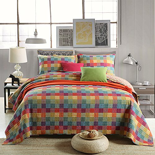 Quilt Set Queen, Cotton World Li Premium 3 Piece Oversized Coverlet Set as Bedspread Bed Cover Reversible Elegant Luxury Comfortable LightWeight - Wrinkle & Fade Resistant-Queen