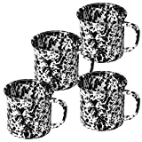 Enamelware Coffee Mugs - Set of 4 - Black Marble