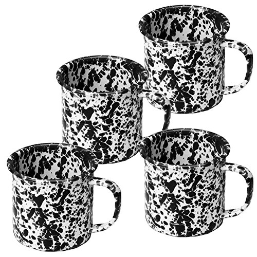 Enamelware Coffee Mugs - Set of 4 - Black Marble (Canyon Coffee)