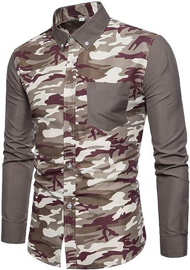 Camisas para Camuflaje De Los Hombres De Cuello De La Solapa Jeans Camisa De Manga Larga: Amazon.es: Ropa y accesorios