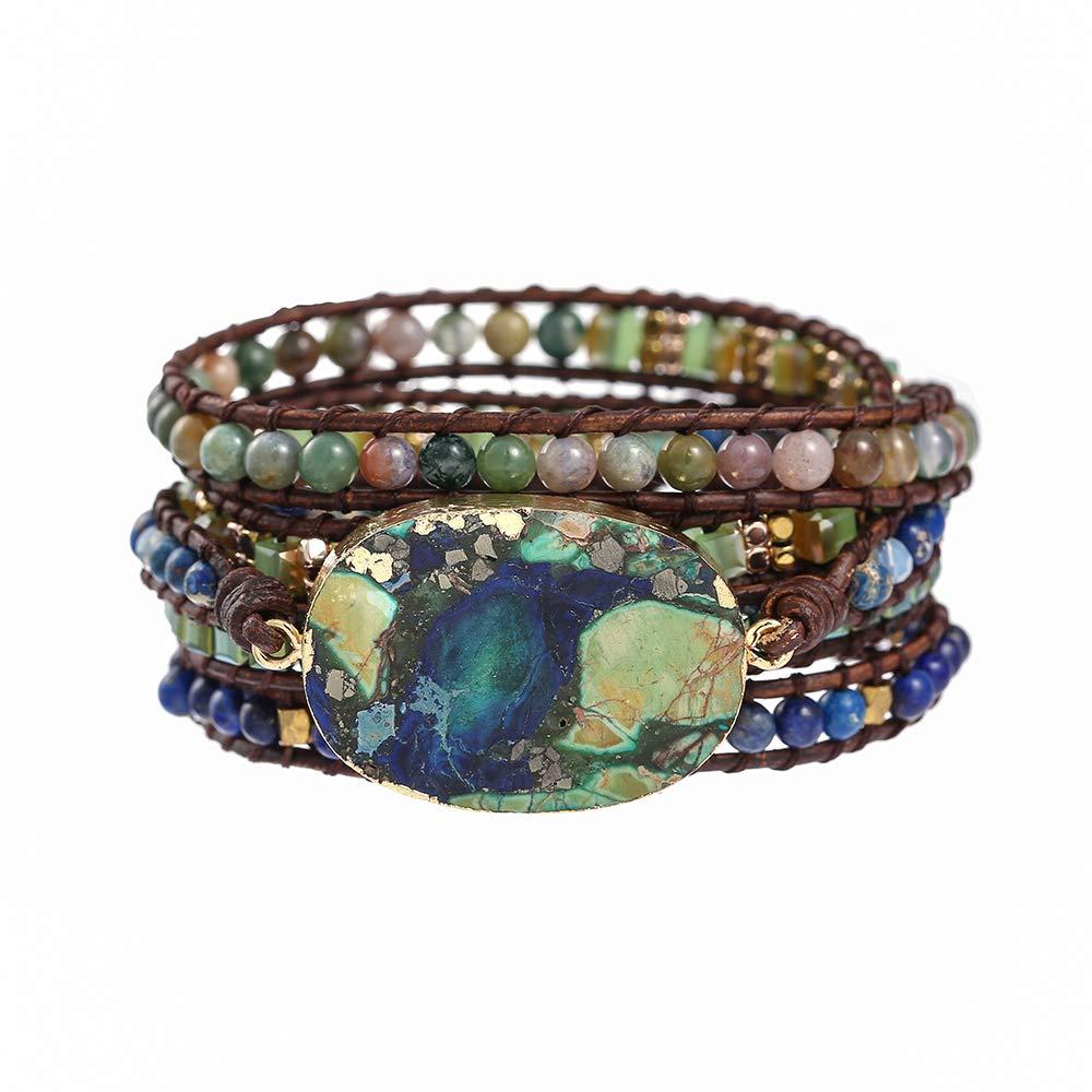 IUNIQUEEN Boho Imperial Jasper Druzy Indian Agate Lapis Lazuli Hematite Crystal Mixed 5 Wraps Bracelet Jewelry for Women Men