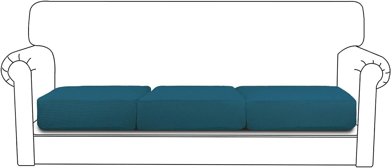 Easy-Going Stretch Cushion Cover Sofa Cushion Furniture Protector Sofa Seat Sofa slipcover Sofa Cover Soft Flexibility with Elastic Bottom(3-Piece Chair Cushion,Peacock Blue)