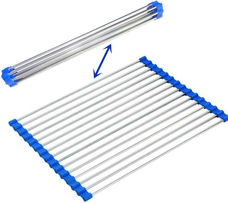sopra il lavandino pieghevole in acciaio inox Blu sinzau 18,5 x 27,9 cm scolapiatti arrotolabile