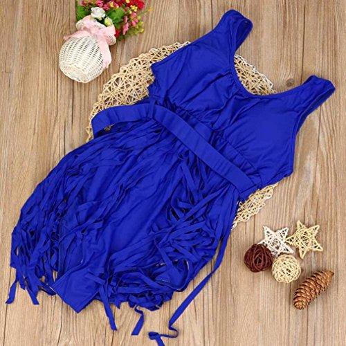Moda Borla Bikini mujer push up talle alto Nergo cintura alta 2017 SHOBDW uno piezas Traje de baño talla grande Azul