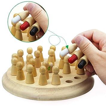 zjchao Palo de Memoria de ajedrez Madera Juguete Juego para niños Partido