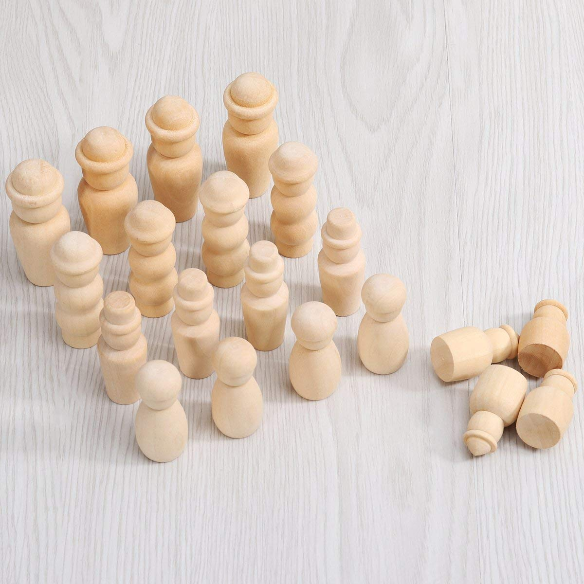 Peg Game Craft Art Projects WOWOSS 50 Pack Unfinished Wooden Peg Dolls 5 Assorted Shapes Family Peg People Doll Bodies Natural Decorative Wood Shapes Figures for Painting