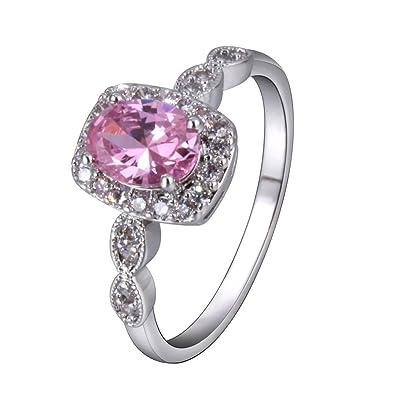 76176823da01 YAZILIND elegante joyeria de plata con encanto plateado cubic zirconia rosa  anillos de compromiso para las mujeres  Amazon.es  Joyería