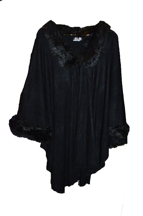 new arrival cf3e7 600ad Elegante cappa-poncho in pelliccia sintetica, colore: nero ...