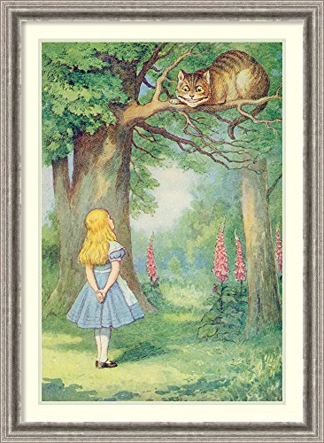 Framed Wall Art Print Alice and The Cheshire Cat, Illustration from 'Alice in Wonderland' by Lewis Carroll by John Tenniel 26.75 x 36.50