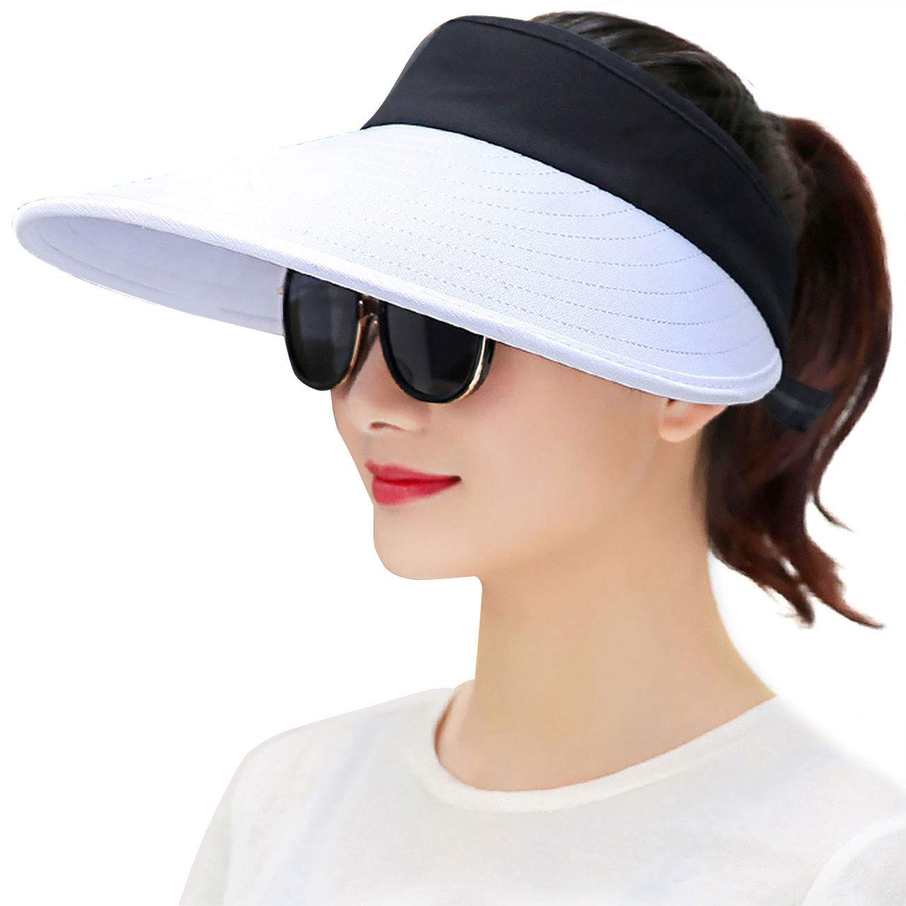 Maylisacc Wide Brim Sun Visors for Women Packable Sun Hat Beach Golf Gardening Topless-Hat