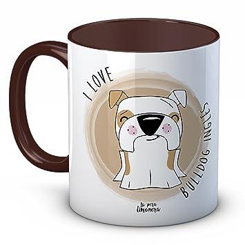Taza Animales Mascotas Perros Gatos - I Love Bulldog Inglés - Marrón - 350 ml - Tazas con frases de animales para regalar: Amazon.es: Hogar