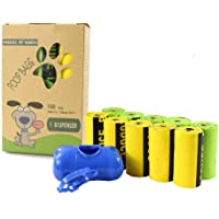 Dog Waste Bags Bio-degradable Made from Corn Starch Dog Poop Bags with Dispenser-Extra Large, Extra Thick, Leak Proof (10Roll / 150PCS)