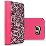 S6 Edge Case, Galaxy S6 Edge Case, Cellularvilla Luxury Rock Crystal Rhinestone PU Leather Diamond Wallet Case [Card Slots] Flip Protective Cover For Samsung Galaxy S6 Edge G925 (Hot Pink Silver)