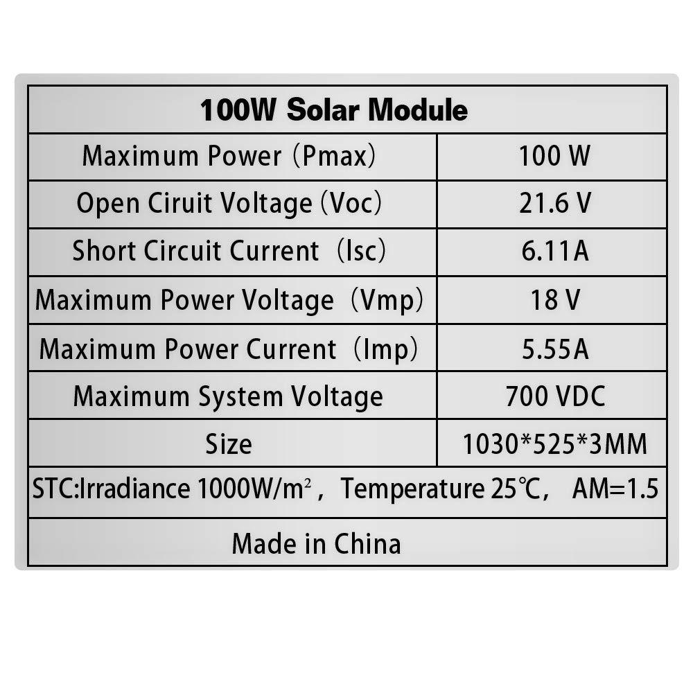 Black XINPUGUANG Panneau solaire flexible 100w 12v Module monocristallin pour chargeur de batterie pour camping-car 12V