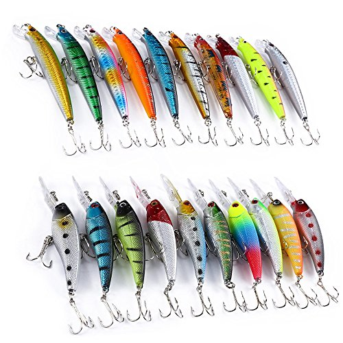YOOYOO 20 PCS Lure Hard Plastic Bait Minnow Pencil Fishing Tackle with 2 Hooks
