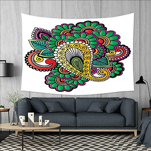 (smallbeefly Henna Tapestry Wall Hanging 3D Printing Vivid Colored Floral Arrangement in Abstract Fashion Flowers Petals Swirls Curves Beach Throw Blanket 60