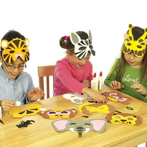 Baker Ross Jungle Animal Foam Mask Craft Kits (Monkey, Tiger, Lion, Elephant, Zebra, Giraffe) for Kids to Make & Wear (Pack of 6) - Dress Up for Carnival/Mardi Gras Party