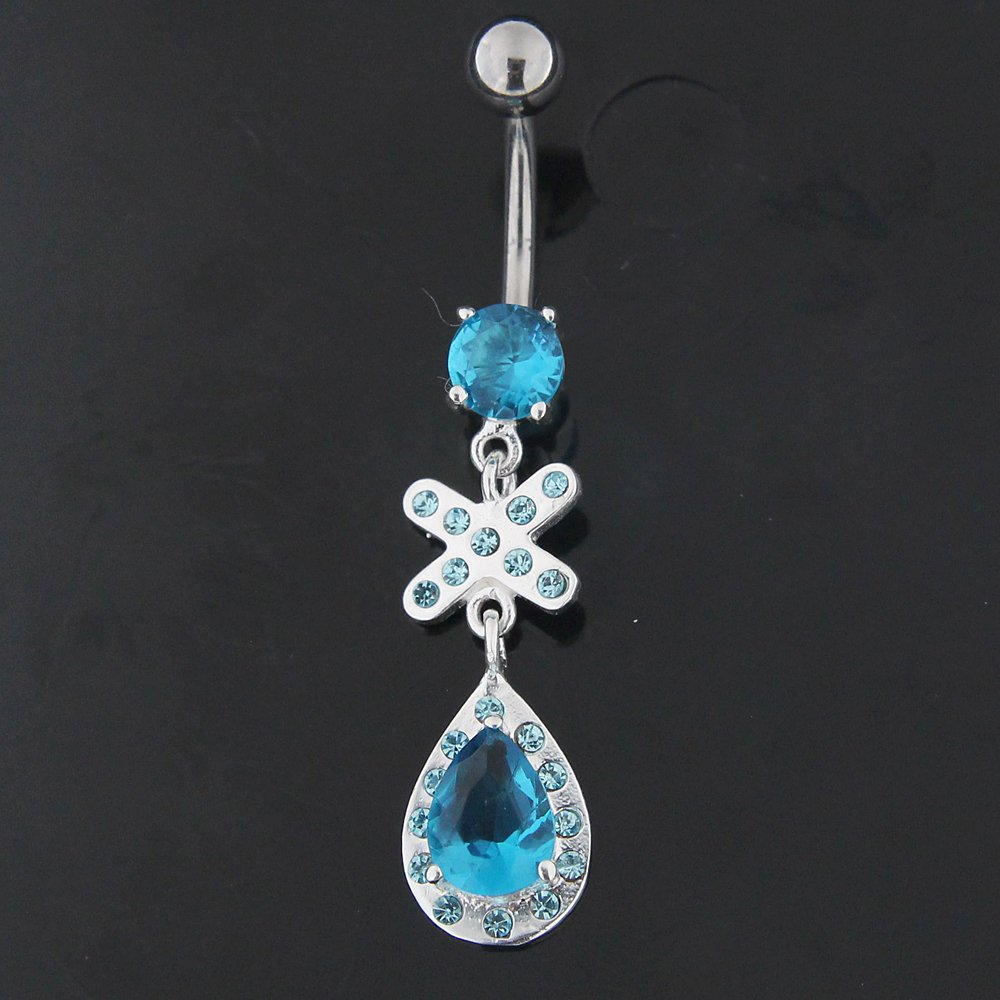 Cross with Teardrop Dangling 925 Sterling Silver with 316L Surgical Steel Belly Button Ring