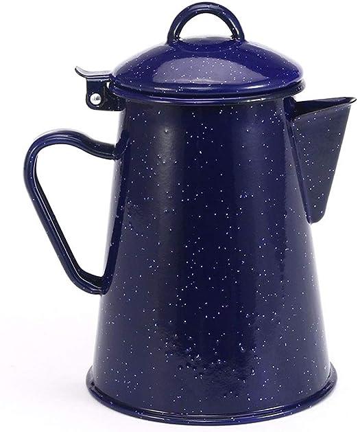 JAYDEN - Cafetera de mano esmaltada, color azul y blanco 1200ml ...
