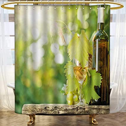 Wine Shower Curtain Young Vine Green Spring Print for Bathroom