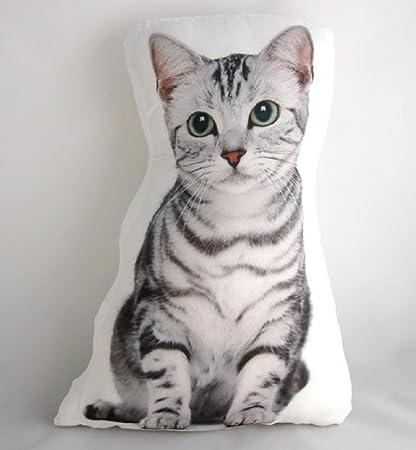 amazon com cat themed accent pillow silver tabby cat 15 x 11 x 4