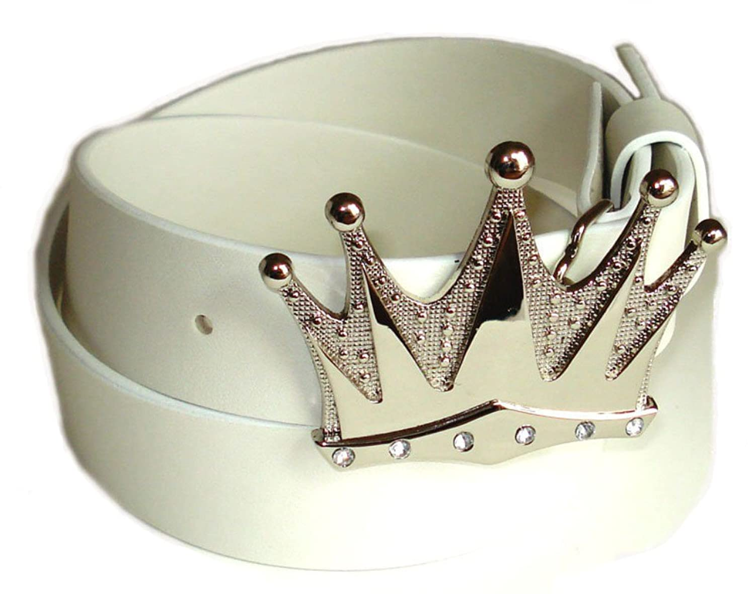 BeltsandStuds Man Women White snap on belt with Silver Crown buckle