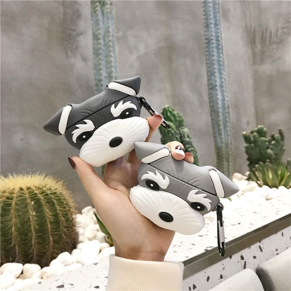 ICI-Rencontrer 3D Cute Schnauzer Design Airpods Case Creavive Lucky Dog Animal Wireless Earphone Soft Silicone Anti-Scratch Shockproof Protector For Airpods Pro 3 With Carabiner Black