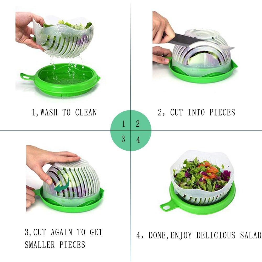 Salad Cutter Bowl Quick Salad Maker Fruit Slicer Easy Vegetable Chopper in 60 Seconds+ Free Peeler (Green) by Generic (Image #3)